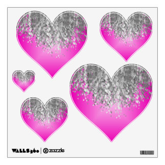 Hot pink and faux glitter wall decal