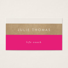 Hot Pink And Faux Gold Leather Business Card at Zazzle