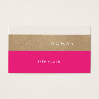 hot pink and faux gold leather business card