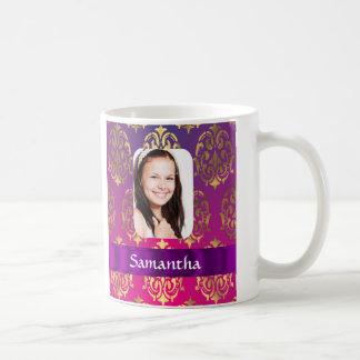 Hot pink and gold damask coffee mug