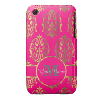 Hot pink and gold damask monogram iPhone 3 covers