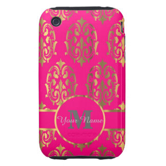 Hot pink and gold damask monogram iPhone 3 tough covers