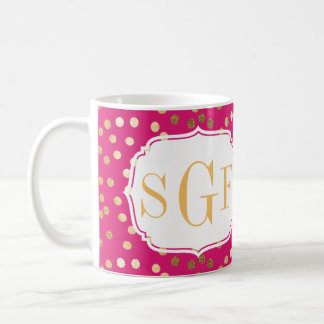 Hot Pink and Gold Glitter City Dots Monogram Mug