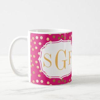 Hot Pink and Gold Glitter City Dots Monogram Mug