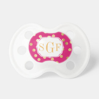 Hot Pink and Gold Glitter City Dots Monogram Pacifier