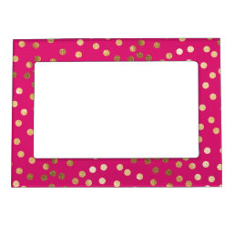 Hot Pink and Gold Glitter Dots Magnetic Photo Frame