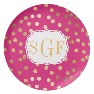 Hot Pink and Gold Glitter Dots Monogram Plate