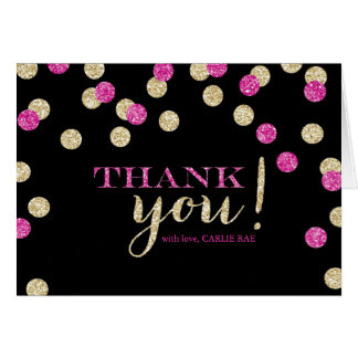 Hot Pink and Gold Glitter Thank You Cards