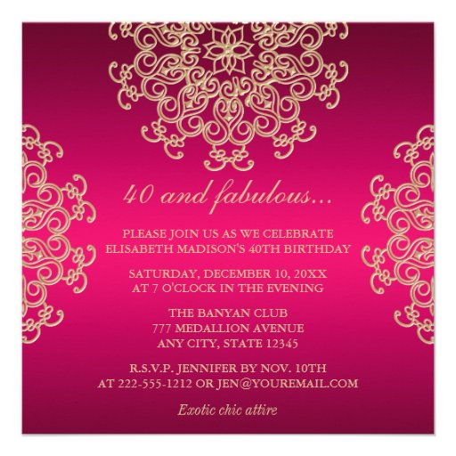 HOT PINK AND GOLD INDIAN INSPIRED BIRTHDAY PERSONALIZED INVITE