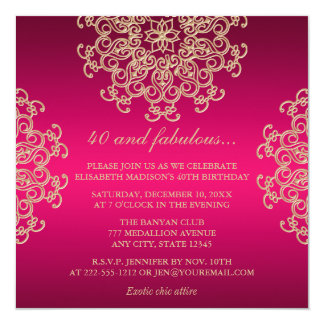 HOT PINK AND GOLD INDIAN INSPIRED BIRTHDAY INVITATION
