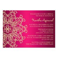 Hot Pink and Gold Indian Inspired Bridal Shower 5x7 Paper Invitation Card (<em>$2.16</em>)