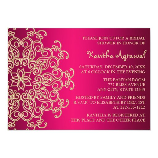 Hot Pink and Gold Indian Inspired Bridal Shower Card