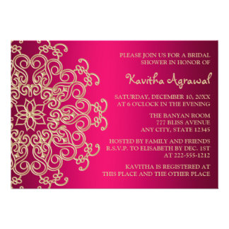 Hot Pink and Gold Indian Inspired Bridal Shower Personalized Invites