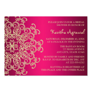 Hot Pink and Gold Indian Inspired Bridal Shower 5x7 Paper Invitation Card