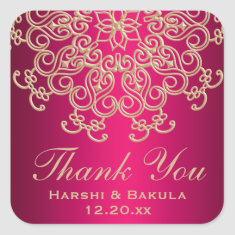 HOT PINK AND GOLD INDIAN INSPIRED THANK YOU LABEL SQUARE STICKERS