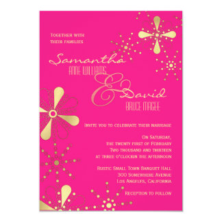 Hot Pink and Gold Indian Inspired Wedding 5x7 Paper Invitation Card