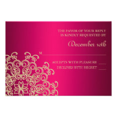 HOT PINK AND GOLD INDIAN RESPONSE RSVP CARD