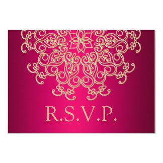 HOT PINK AND GOLD INDIAN RESPONSE RSVP CARD INVITATIONS