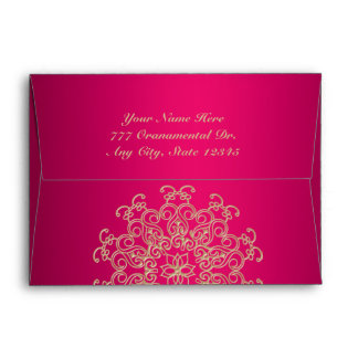 HOT PINK AND GOLD INDIAN STYLE ENVELOPE