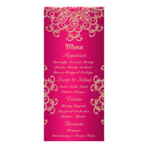 Hot Pink and Gold Indian Style Menu Cards