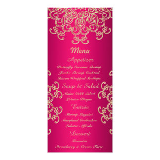 Hot Pink and Gold Indian Style Menu Cards Custom Rack Cards