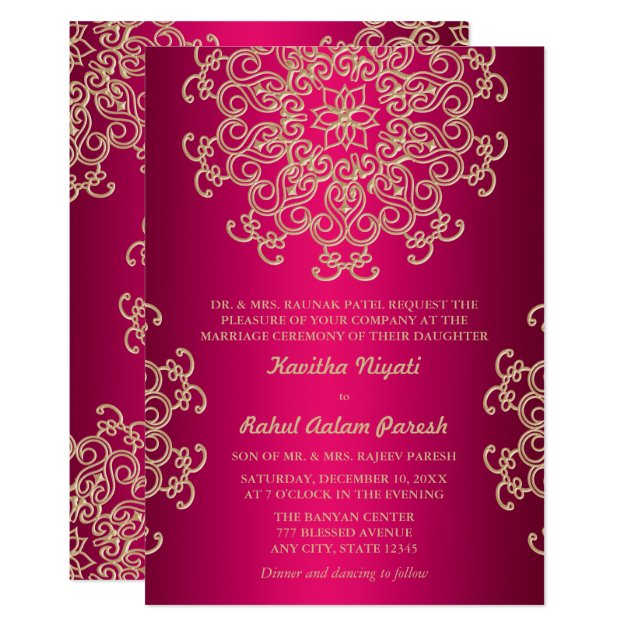 HOT PINK AND GOLD INDIAN STYLE WEDDING INVITATION | Zazzle