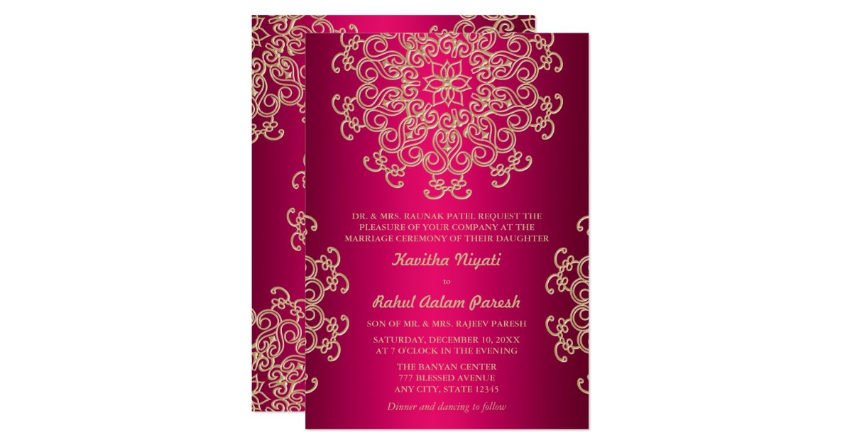 Hot Pink And Gold Indian Style Wedding Invitation Zazzle Com