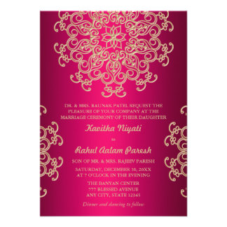 HOT PINK AND GOLD INDIAN STYLE WEDDING INVITATION