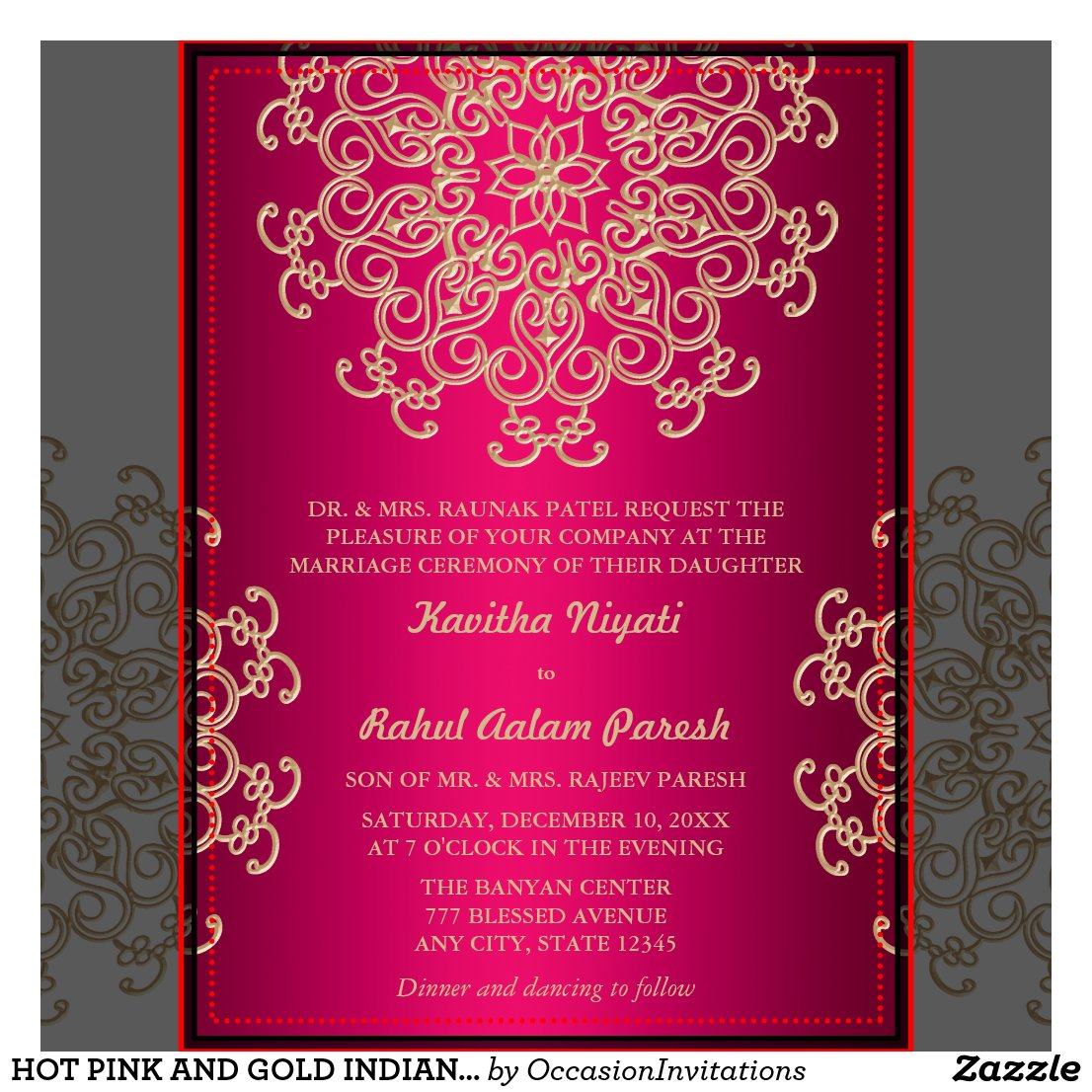 Hot Pink And Gold Wedding Invitations bigking keywords and pictures