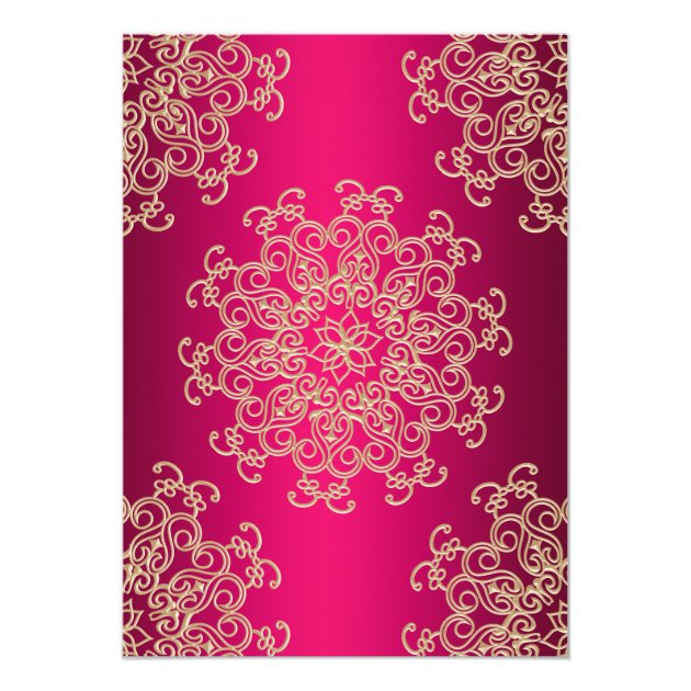 HOT PINK AND GOLD INDIAN STYLE WEDDING INVITATION (back side)