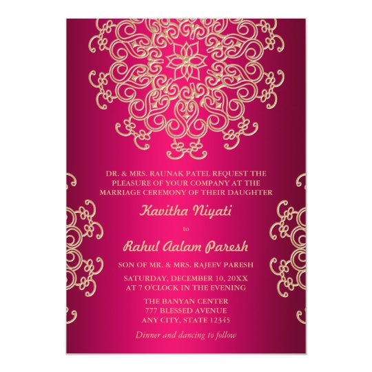 Hot pink and gold indian style wedding invitation zazzlecom for Online indian e wedding invitations