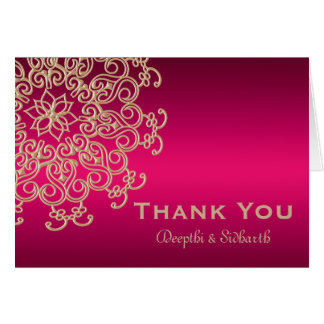 HOT PINK AND GOLD INDIAN STYLE WEDDING THANK YOU STATIONERY NOTE CARD
