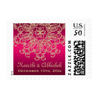 HOT PINK AND GOLD INDIAN WEDDING POSTAGE STAMPS