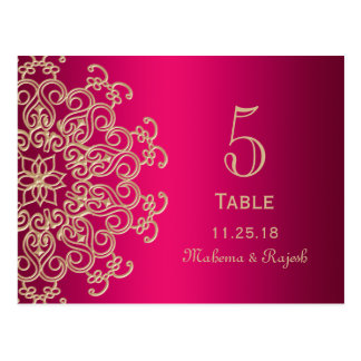 HOT PINK AND GOLD INDIAN WEDDING TABLE NUMBER CARD POSTCARD