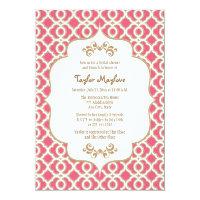 Hot Pink and Gold Moroccan Bridal Shower Invites 5&quot; X 7&quot; Invitation Card (<em>$2.16</em>)