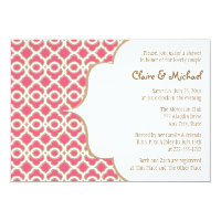 Hot Pink and Gold Moroccan Couples Wedding Shower 5x7 Paper Invitation Card (<em>$2.16</em>)