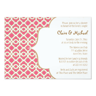 Hot Pink and Gold Moroccan Couples Wedding Shower 5x7 Paper Invitation Card