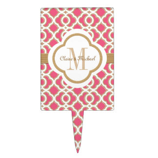 Hot Pink and Gold Moroccan Monogram Couples Cake Topper