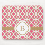 Hot Pink and Gold Moroccan Monogrammed Mouse Pad