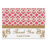Hot Pink and Gold Moroccan Thank You Wedding Card