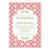 Hot PInk and Gold Moroccan Wedding Invitations