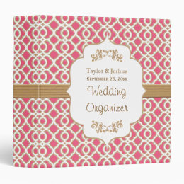 Hot Pink and Gold Moroccan Wedding Organizer 3 Ring Binder