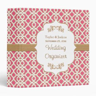 Hot Pink and Gold Moroccan Wedding Organizer 3 Ring Binder