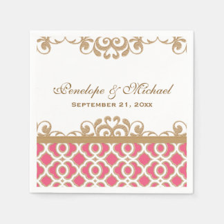 Hot Pink and Gold Moroccan Wedding Paper Napkin