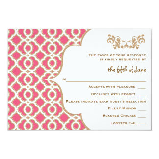 Hot Pink and Gold Moroccan Wedding Response Cards