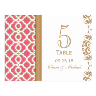 Hot Pink and Gold Moroccan Wedding Table Number Postcard