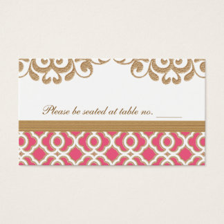 Hot Pink and Gold Moroccan Wedding Table Place Business Card
