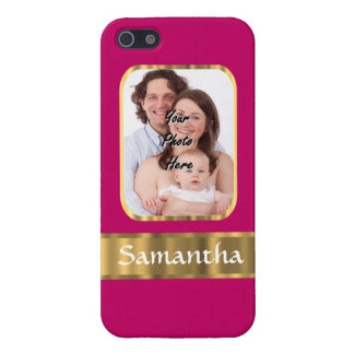 Hot pink and gold personalized iPhone SE/5/5s case