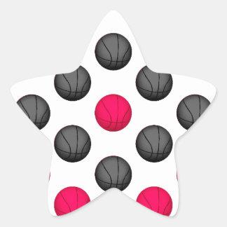 Hot Pink and Gray Basketball Pattern Star Sticker