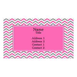 Hot Pink and Gray Chevron Pattern Double-Sided Standard Business Cards (Pack Of 100)